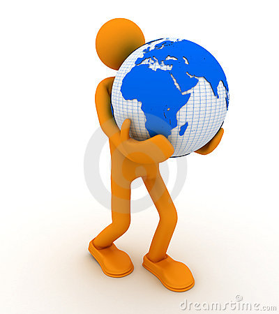 Man with globe.