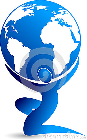 Man with the globe Vector Illustration