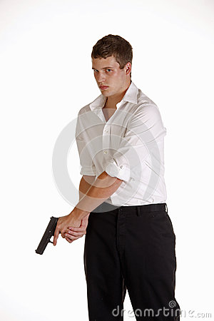 Man with Glock Handgun