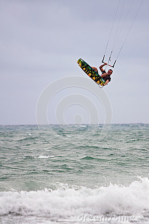 Man Goes Airborne Parasail Surfing Off Florida Coast Editorial Photo