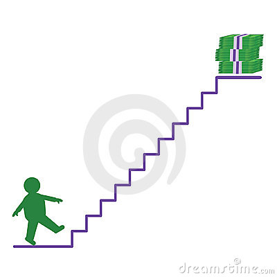 A man going up to money
