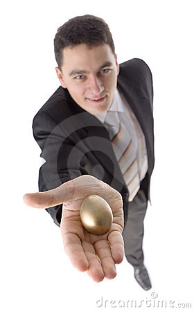 Man with gold egg