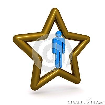 Man in gold star