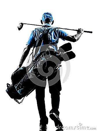 Man golfer golfing golf bag walking silhouette