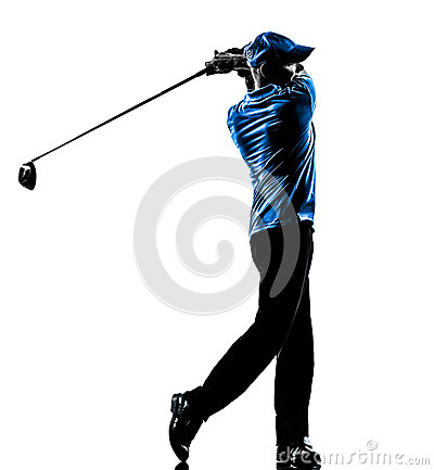 Free Man Golfer Golfing Golf Swing Silhouette Royalty Free Stock Photos - 34046038