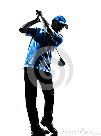 Free Man Golfer Golfing Golf Swing  Silhouette Stock Images - 45827304