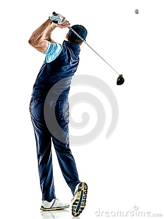Free Man Golfer Golfing Isolated Withe Background Royalty Free Stock Images - 100256229