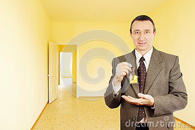 Man got a key of new apartment