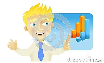 Man with a graph bar