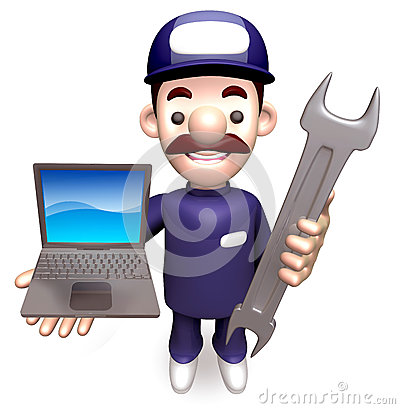 The Man Grasp the laptop and spanner