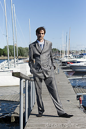Man in a gray suit
