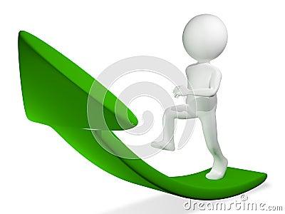 Man on green arrow