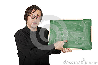 Man with green board
