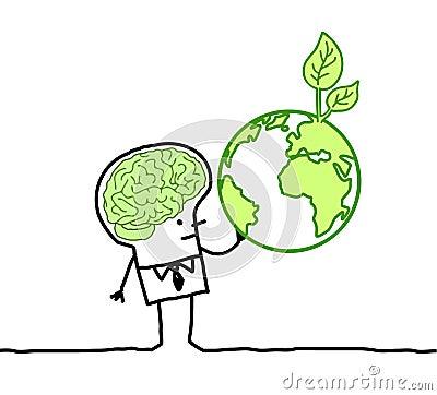 Man with green brain & green earth