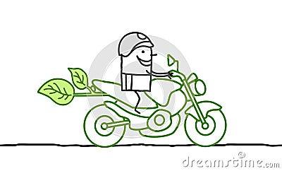 Man on green moto