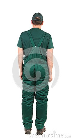 Man in green  overalls