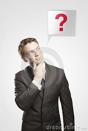 Man with green question mark above his head