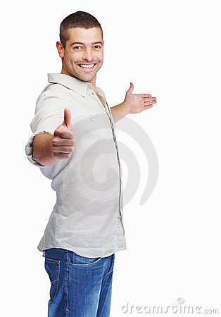 Man greeting someone with thumbs up isolated