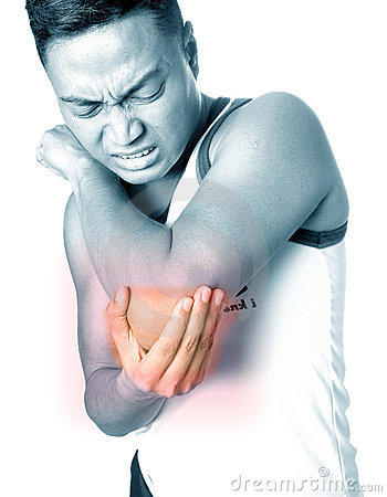 Free Man Grimaces As He Suffers Elbow Injury Stock Photography - 5294882