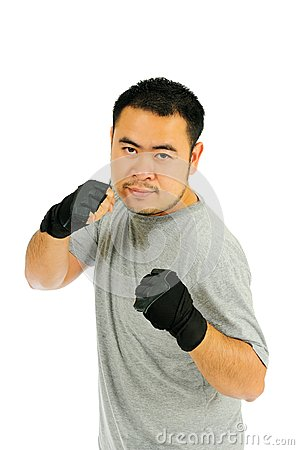 Man guard in body combat