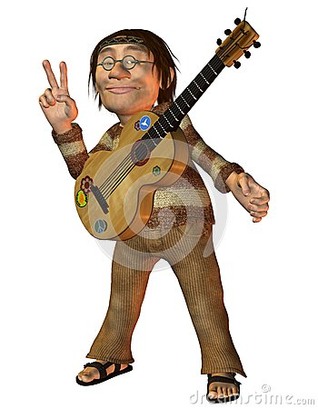 Man with a guitar and Peace Message