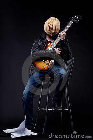 Man - guitar player cosplay anime character