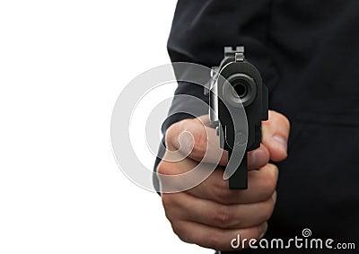 Man with gun, focus on the gun