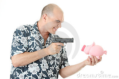 Man with gun pointing at piggy bank