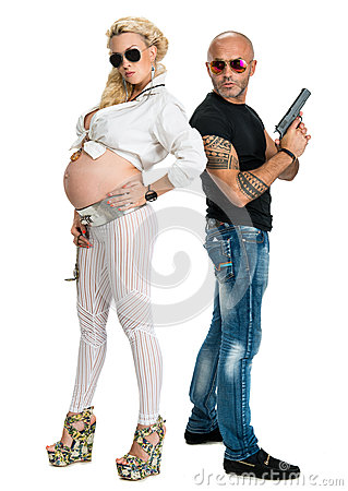 Man with a gun and pregnant woman