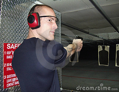 Man at gun range