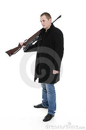 Man with the gun on the shoulder