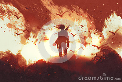 Man with gun standing against fire background Cartoon Illustration