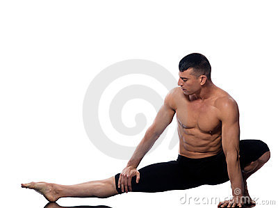 Man gymnastic  stretching posture yoga