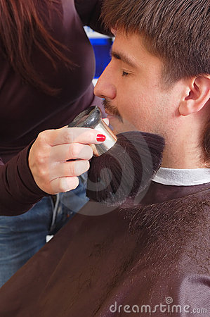 Man in hairdressing saloon
