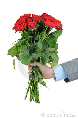 Man hand with bunch of red roses