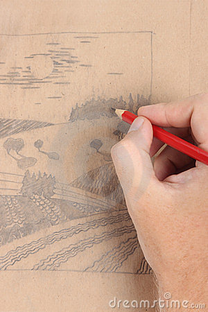 Man hand draw picture with landscape