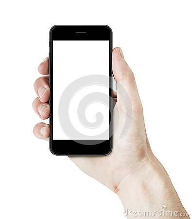 Free Man Hand Holding A Smartphone With Blank Screen. Stock Image - 44552761