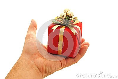 Man hand holding a small gift box