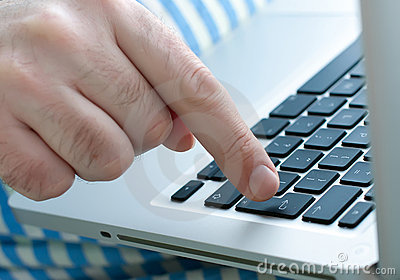 Man hand on a keyboard