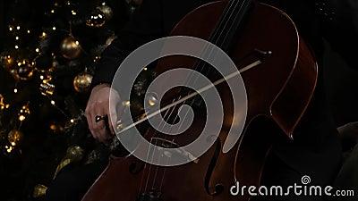 Man Hand Play cello with Cello Bow Sluiting van de mannetjeshand met Cello Bow Klassiek Orchestra Musicus stock video