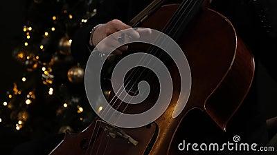 Man Hand Play cello with Cello Bow Sluiting van de mannetjeshand met Cello Bow Klassiek Orchestra Musicus stock videobeelden
