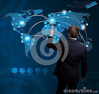 Free Man Hand Pressing Digital Button On Futuristic Map Royalty Free Stock Photo - 21299515