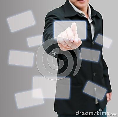 Man hand push