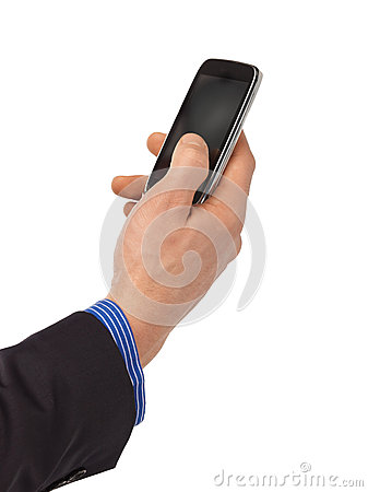 Man hand with smartphone
