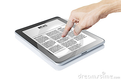 Man hand touching digital tablet