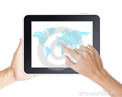 Man hand touching screen on modern digital tablet