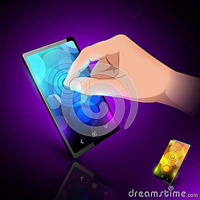 Man hand is touching sensory phone.
