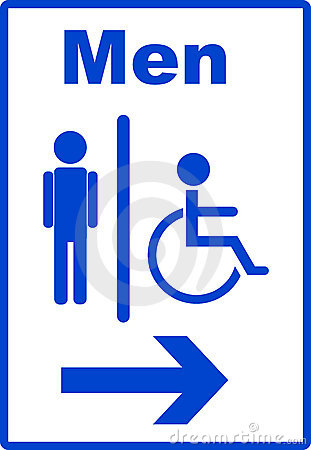 Man and handicap or wheelchair person symbol