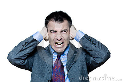 Man hands covering ears annoyed by sound shouting