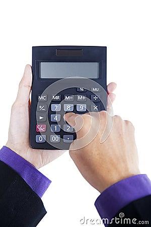 Man hands using calculator